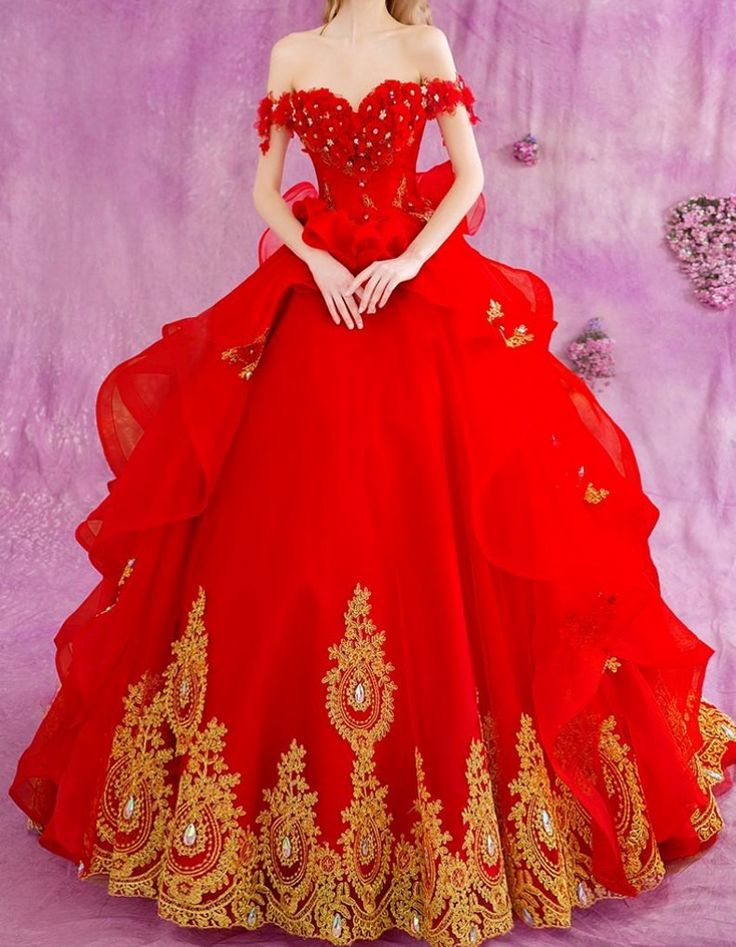 ==> [Free Shipping] Buy Best Luxury Red Ball Gown Wedding Dresses Gold Lace Applique Beads Princess Organza Bride Bridal Gowns Vestidos De Novia Con Rojo Online with LOWEST Price | 32710390349