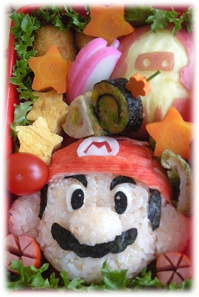 Nintendo Mario Kyaraben Bento Lunch (Tarako Cod Roe mixed Rice Ball, Kanikama Surimi Fish Cap, Nori Face)