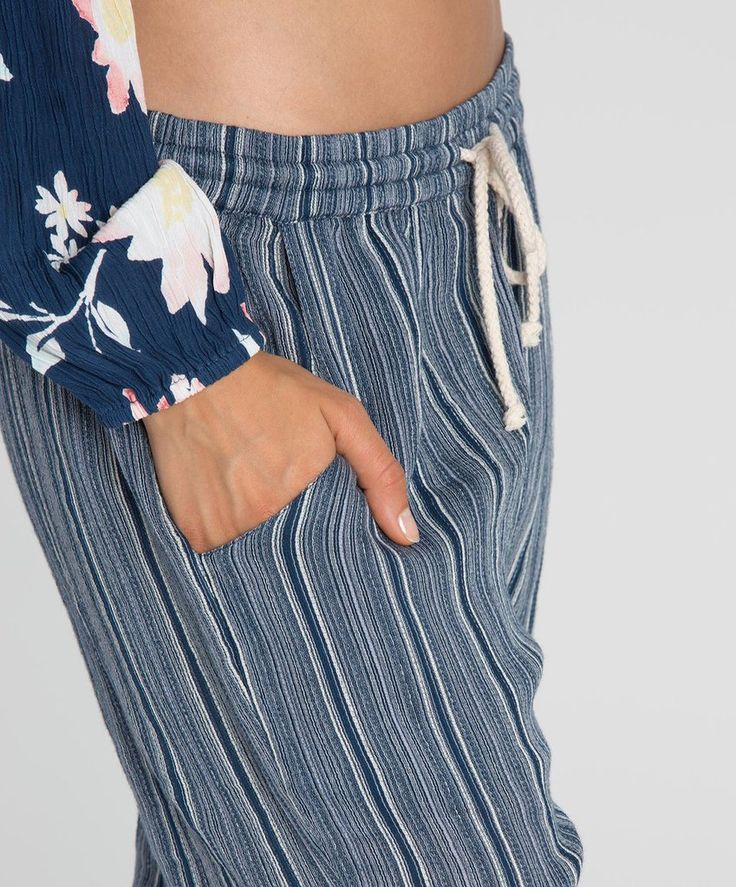 This jogger pant silhouette is finished off with seaside stripes and a broken-in feel. Free shipping. Come see our new arrivals.
