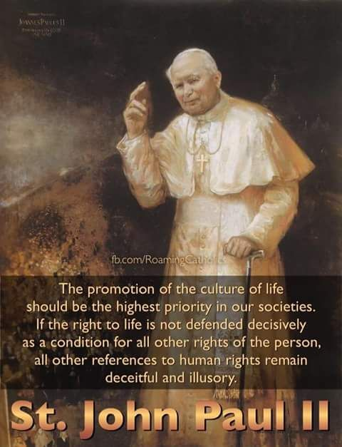 """""""The promotion of the culture of life should be the highest priority in our societies...."""" ~ St. John Paul II"""