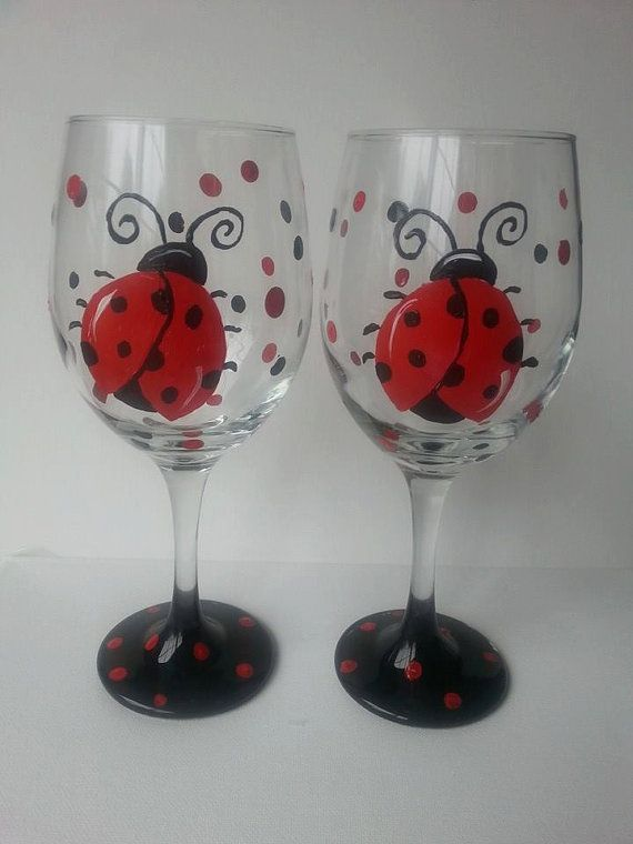 Red Ladybug Set of two 20 oz Hand Painted by AtkinsonCreations