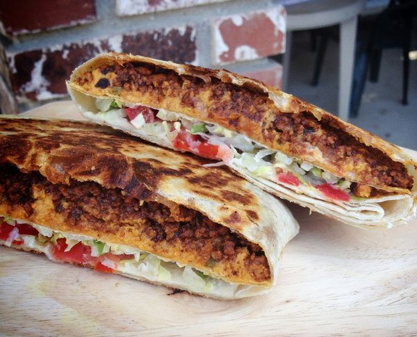 Vegan Crunchwrap! If you're not vegan just make some ground turkey and regular  cheese sauce and follow their directions for a meaty original version