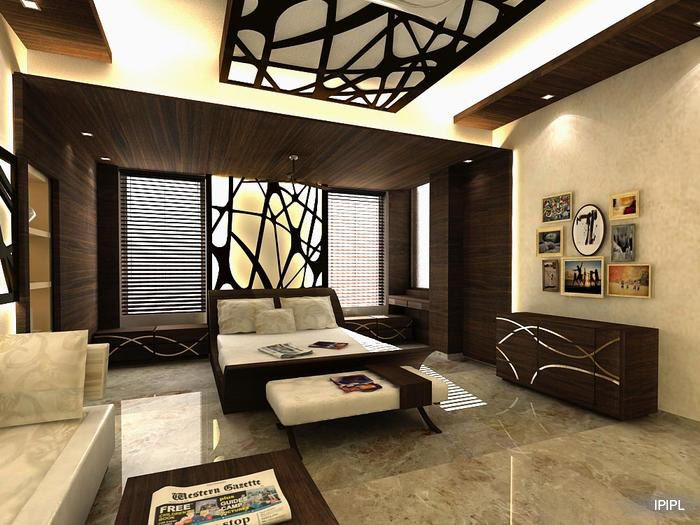 An Artistic Ceiling And Wall Decor Gives This Stylish Bedroom A Personality  Of Its Own Design Courtesy   IPIPL, Mumbai