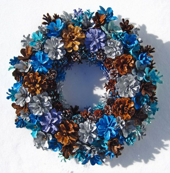 Handmade Natural Winter Colors Pine Cone Wreath Center by EacArt                                                                                                                                                                                 More
