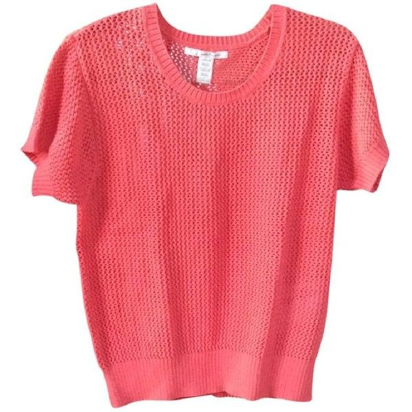 Levi's Coral Sweater ($10) ❤ liked on Polyvore featuring tops, sweaters, short sleeve tops, red short sleeve sweater, levi's sweater, coral top and coral sweater