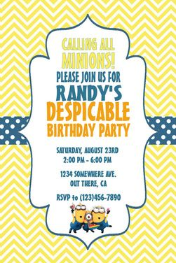 96 best invitations ideas party boys images on pinterest minion invitation template google search stopboris Images
