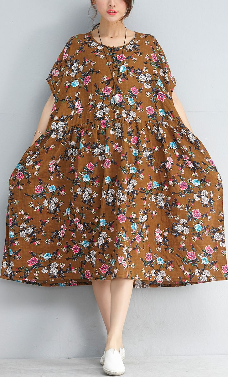 488443bbd5f9 yellow floral linen dresses plus size clothing shirt dress2018short sleeve  cotton dress