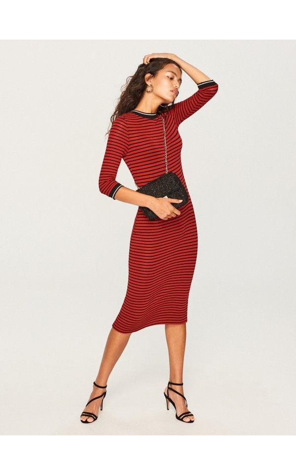Dzianinowa Sukienka Midi Sukienki Kombinezony Brazowy Reserved Womens Dresses Fashion Dresses