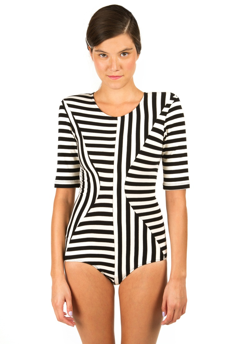 Body Editions  Multi Stripes Elbow-Sleeve Body