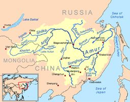 Map of the Amur River watershed   (Amur River - Wikipedia)