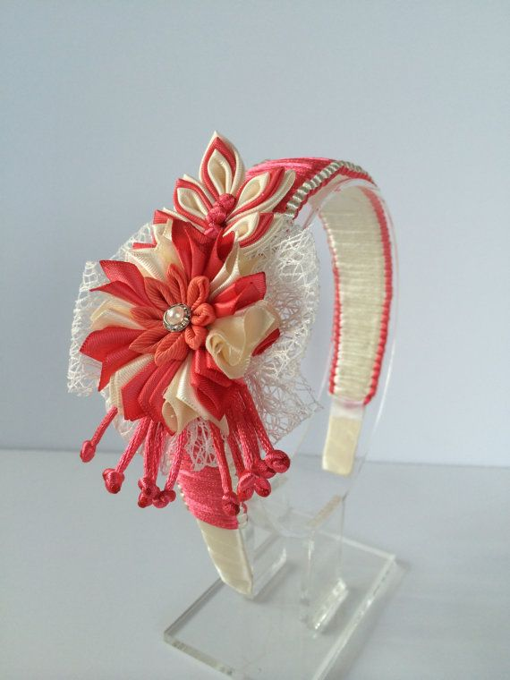 Coral/ivory girl headband - girl headband - kanzashi headband - Kanzashi flower headband - bow headband - hair accessories - women headband. MagaroCreations