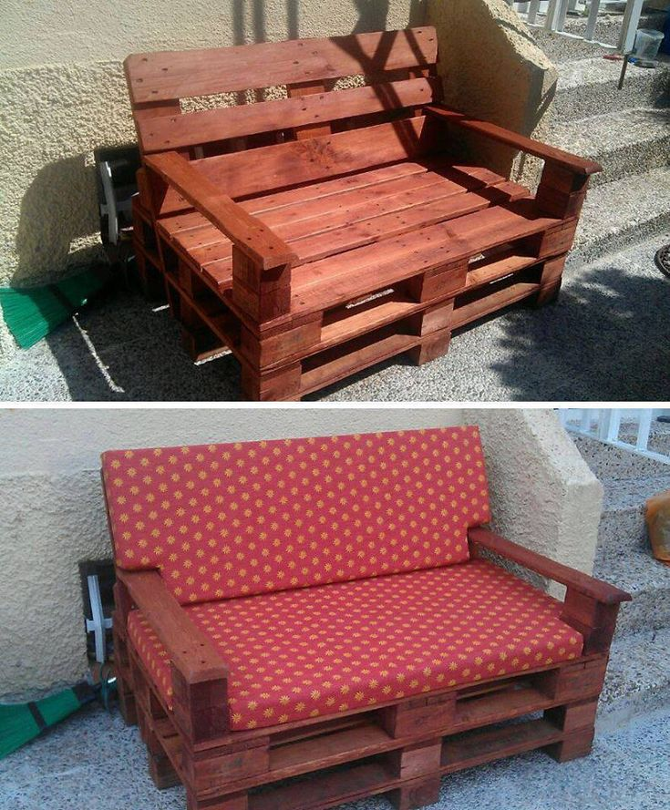 Recycling pallets into unique outdoor bench