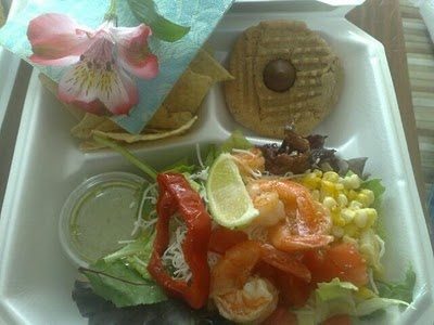 Nordstrom's Bistro Cafe Shrimp Salad, Peanut Butter Chocolate Cookie for my Box Lunch Delivery