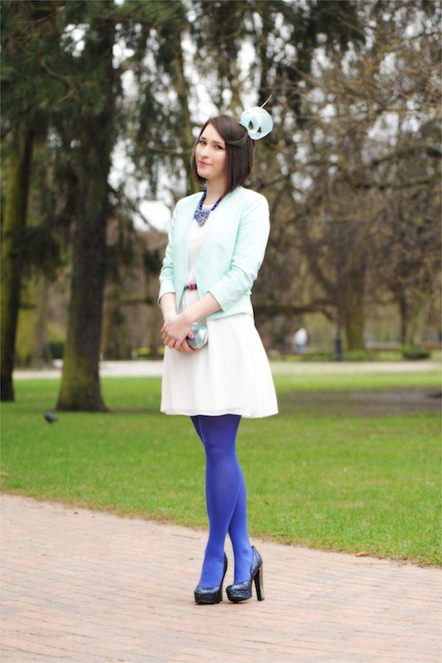 White Dress Cobalt Tights Shiny Syl Blog La Regina