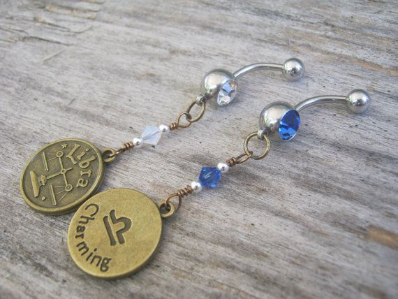 Handmade with Love, this personalized Astrology zodiac themed Belly button ring features a gorgeous lead and nickel free BRONZE double sided