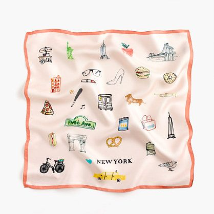 This Italian silk scarf is crafted with illustrations (hand done by one of our designers) inspired by one of our favorite cities—New York—and is our new accessory pick... Our favorite ways to wear it? Around your neck, on your bag or in your hair. <ul><li>Silk.</li><li>Made in Italy.</li></ul>