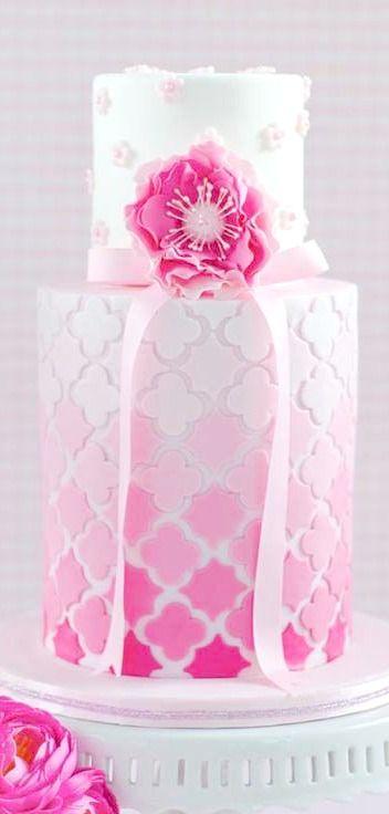 Pink Ombre Quatre Foil Birthday Cake