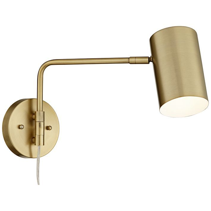 Carla Brushed Brass 12 High Down Light Swing Arm Wall Lamp 39w58 Lamps Plus In 2020 Swing Arm Wall Lamps Wall Lamp Lamps Plus