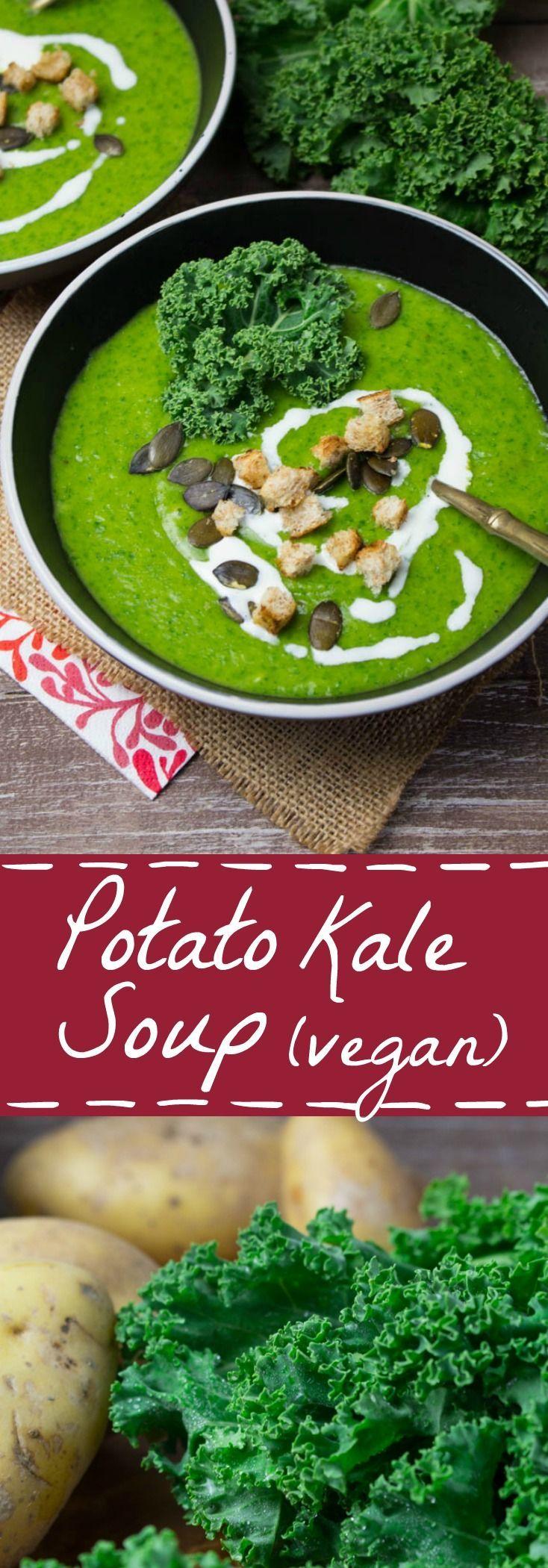 Vegan potato kale soup with celery, carrots, and leek