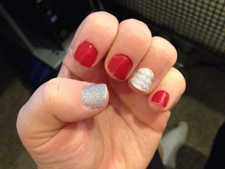 Red, white and silver Gel nails. Nov 26, 2013