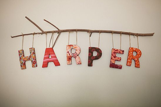 Cover letters (you can find them at craft stores) with fabric or scrapbook paper, then hang them with twine from a branch.: Baby Names, Babies, Girl, Cute Ideas, Kids Room, Hanging Letter, Nursery Ideas, Baby Room