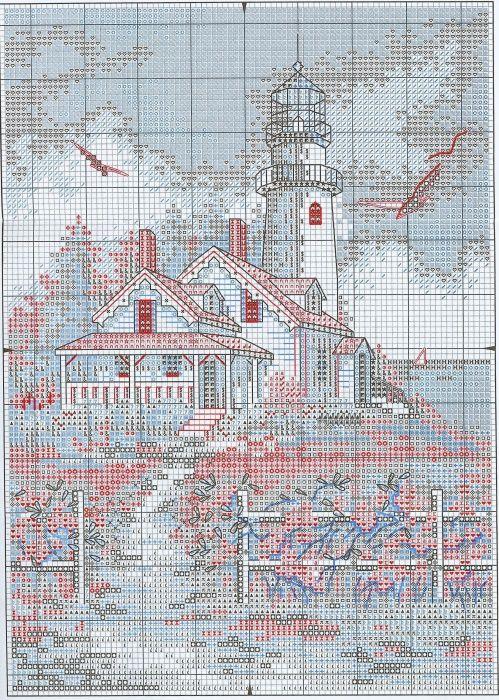 Схема вышивки Живописный маяк (Dimensions)