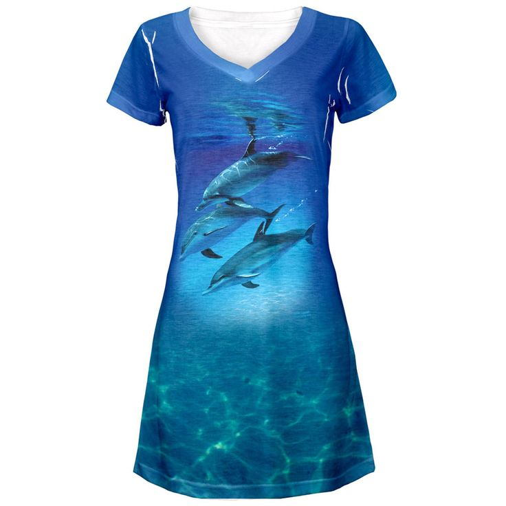 Three Dolphins All Over Juniors V-Neck Dress