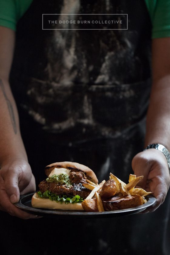 Burger and Chips. The Dodge Burn Collective  Photography: Bakkes Images  Styling: Yellow Papaya  Client: The Armory www.thedodgeburncollective.co.za