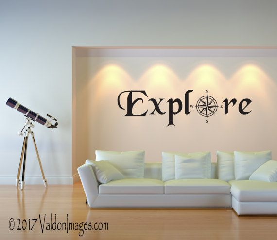 Explore Wall Decal, Travel Decor, Living Room Decal, Travel Wall Decal,  Wanderlust Decal, Compass Rose Decal, Office Wall Decor, Door Decal