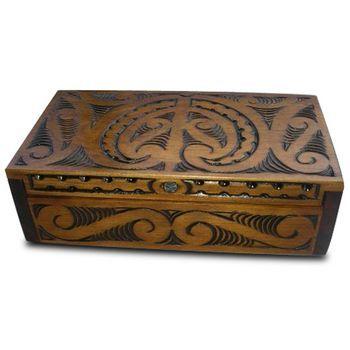 New Zealand Maori Hand Carved Matai Box with Hinged Lid  http://www.silverfernz.com/20-maori-hand-carved-matai-box-with-hinged-lid.htm