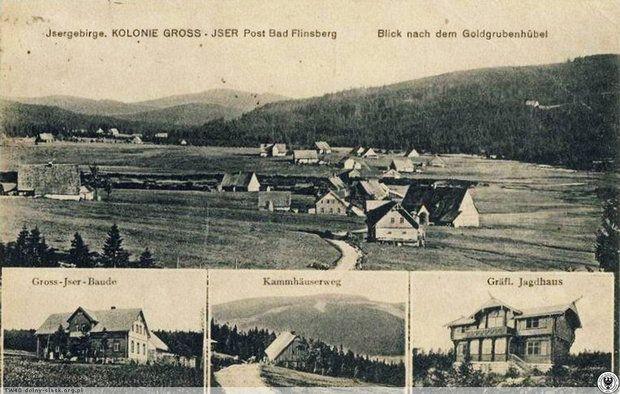 Gross-Iser na archiwalnej pocztówce z 1922 r. - widoczne schronisko Gross-Iser Baude i domek myśliwski Schaffgotschów