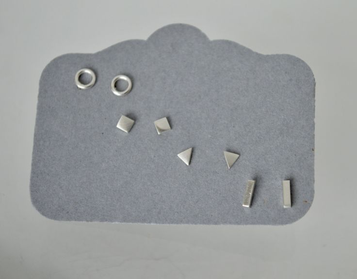 Stud Earrings, Geometric Stud Earrings, Silver Stud Earrings, Small Stud Earrings, Set of Four Pairs, Sterling Silver Earrings, Silver Studs by CandiceVostrejs on Etsy