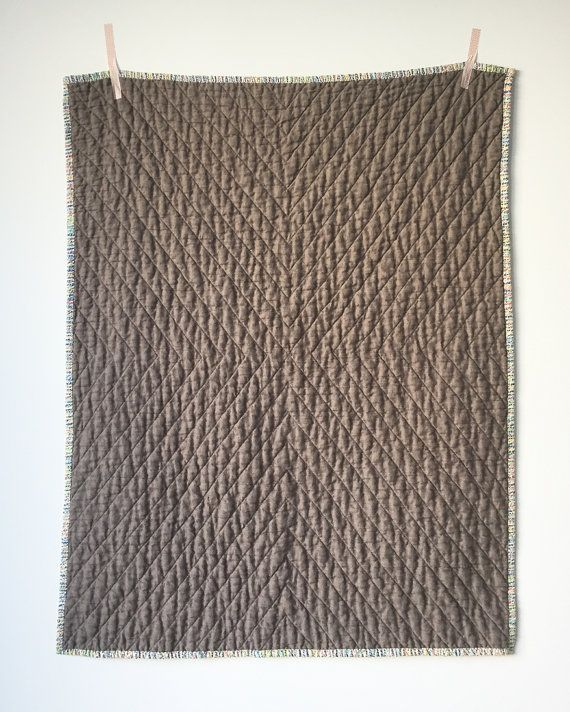 SPECIAL PRICE - Linen quilted baby blanket - mushroom colour