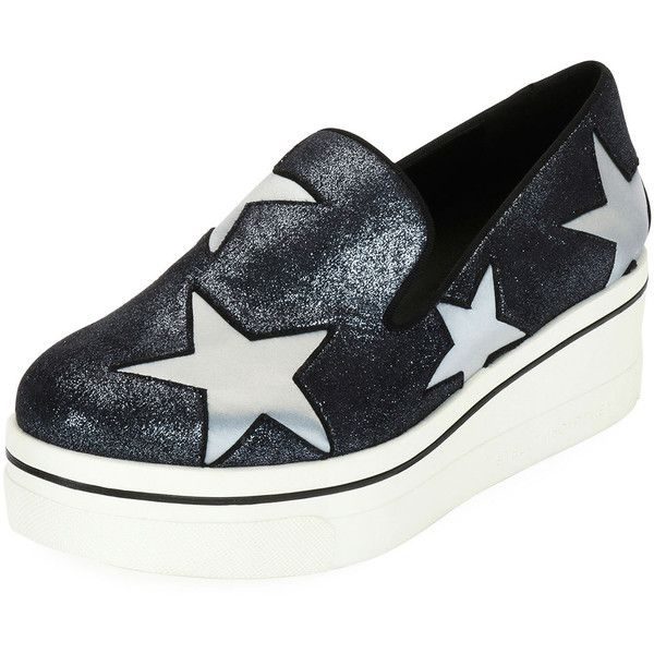 Stella Mccartney Binx Stars Glittered Loafer (1.525 BRL) ❤ liked on Polyvore featuring shoes, loafers, blue, shoes sneakers, glitter shoes, wedges shoes, loafer shoes, platform slip on shoes and stella mccartney shoes