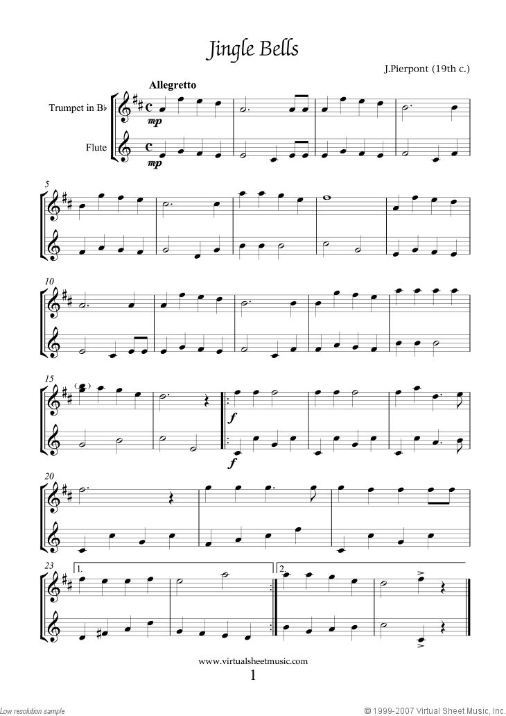 Christmas Carols. Christmas Sheet Music and Carols (all the collections for trumpet and flute, first page preview. Click to download the actual, high resolution PDF file.