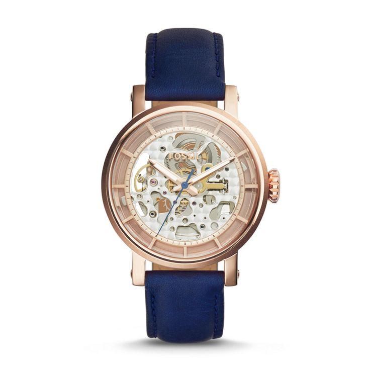 #Fossil ORIGINAL BOYFRIEND Automatic Leather Watch - Blue