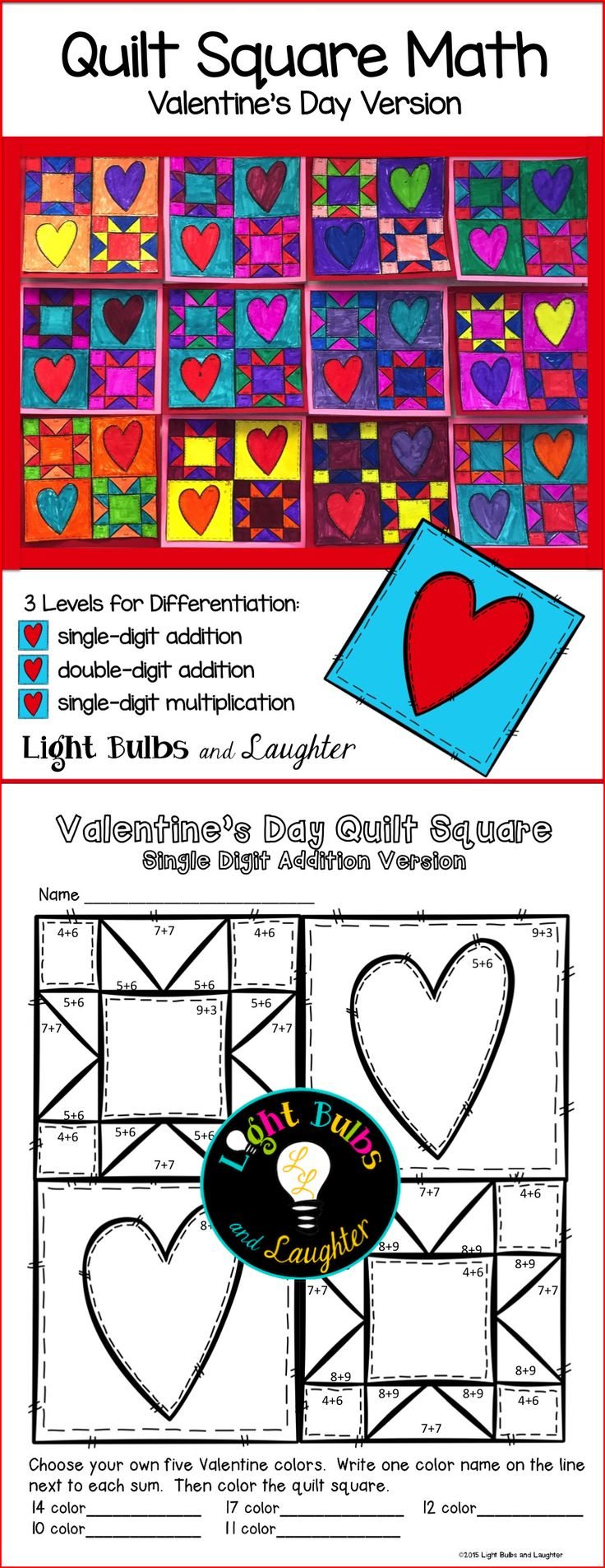 Practice math facts while you make a beautiful Valentine classroom quilt!  Addition and Subtraction included, and a blank quilt for differentiation.  TpT$