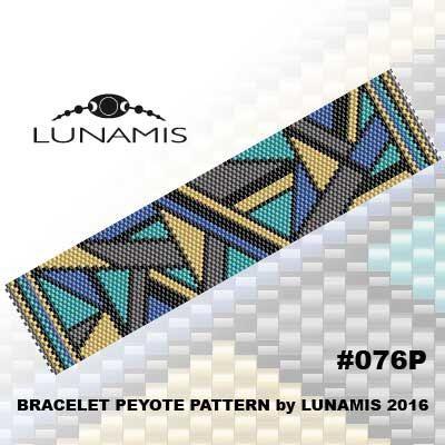Peyote bracelet pattern, peyote pattern, stitch pattern, pdf file, pdf pattern, #076P