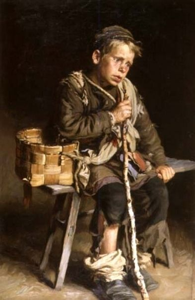 A Beggar Boy With Basket. Ivan Tvorozhnikov (1848 – 1919) RUSSIAN