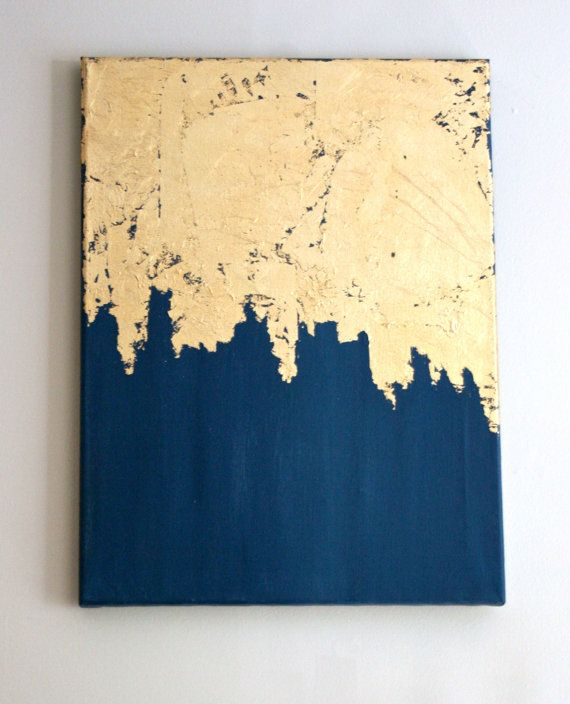 Midnight Gold | Gold Leaf Painting | Modern Art | Acrylic Painting | Shabby Chic Artwork | Blue and Gold Painting | Navy Painting | by DistantRealms
