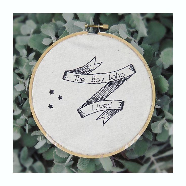 Harry Potter themes embroidery art.  ellek.ay on Instagram