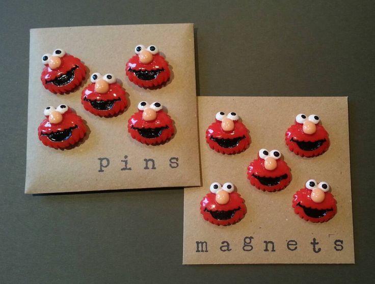 Sesame Street Elmo character push pins/thumb tacks/drawing pins or fridge magnets for notice/memo/cork boards or magnetic boards by YoJojohandmade on Etsy
