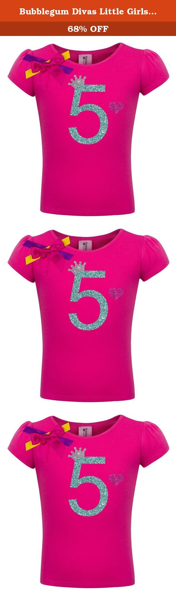 Bubblegum Divas Little Girls' 5th Birthday Hot Pink Princess Shirt 6X. Princess birthday party shirt, for your princess who is turning 5yrs old. She will look absolutely adorable with our bright sparkle birthday tshirt with a glitter birthday number 5. This birthday shirt offers a stretchy fabric blend that is comfy for girls to wear. I've added fun colorful ribbons.