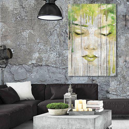 Tableau déco cosy rêve de femme esquisse peinture verte aquarelle