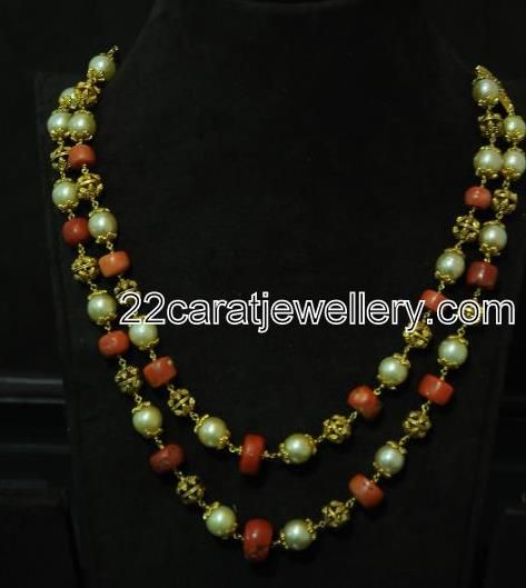 Jewellery Designs: Pearls and Coral Beaded Necklace