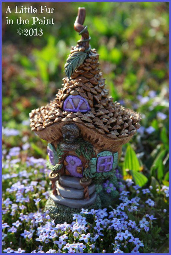 OOAK Mini Fairy House Cottage Polymer Clay Pinecone Shingles via Etsy