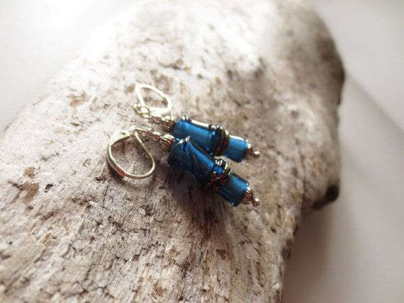 Blue earrings. Blue bamboo earrings. Lampwork by LittleBearsMom