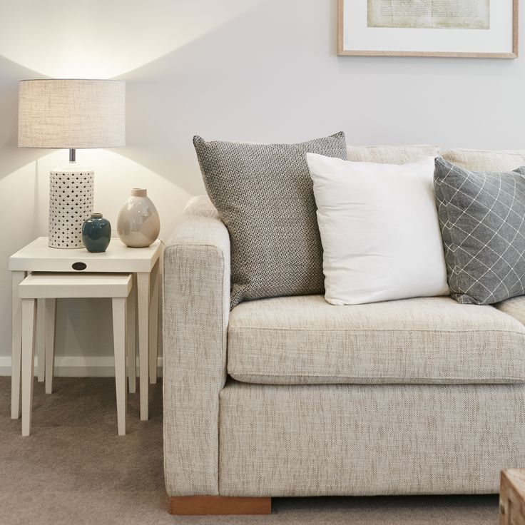 #styling #livingroom #lounge #couch #shadesofgrey #cushions #textures #home #comfort #sidetable #lamp #pastel