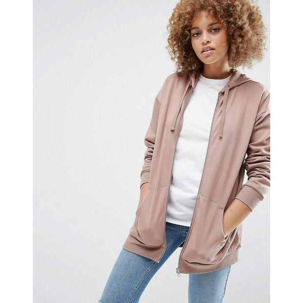 ASOS Ultimate Oversized Zip Through Hoodie (£25) ❤ liked on Polyvore featuring tops, hoodies, pink, zip hoodies, white hoodie, hooded zipper sweatshirts, sweatshirt hoodies and cotton zip hoodie