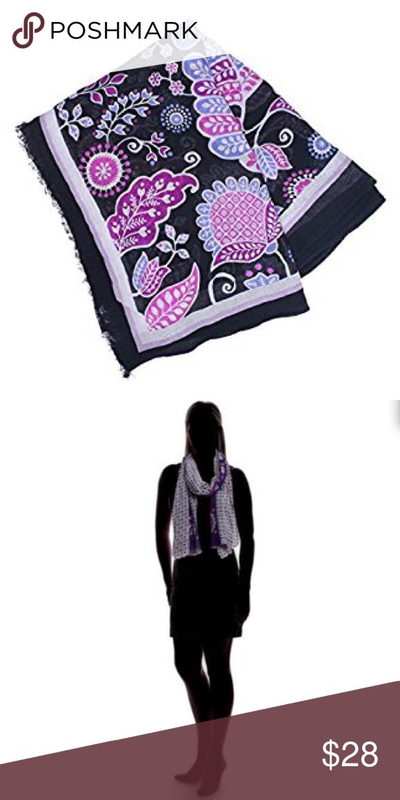 """Vera Bradley Soft Fringe Scarf Brand new! """"Keep one handy for unexpected chilly days (or meeting rooms) or when you want to adopt the mystery of an old time movie star."""" Dimensions are 72.5"""" W x 26.25"""" H. Print is Alpine Floral. [model photo is not of exact print, but wanted to show how it was worn] Vera Bradley Accessories Scarves & Wraps"""